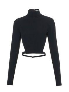 High-neck cut-away back cady top  | Mugler | MATCHESFASHION.COM AU