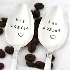 Her and Her Coffee spoons Same Sex gift by MilkandHoneyLuxuries, $25.00