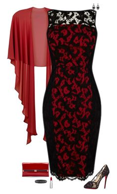 """""""Red & black"""" by julietajj ❤ liked on Polyvore featuring Gina Bacconi, Givenchy, Christian Louboutin, Diane Von Furstenberg and Lorraine Schwartz"""