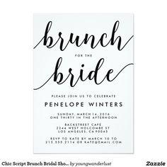 Chic Script Brunch Bridal Shower Invitations