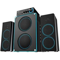 Arion Legacy Deep Sonar 550 Extreme Clarity Large Size 2.1 PC Speakers with Dual Subwoofers and Control Box Connects TV Headphone Microphone and Charges USB Devices