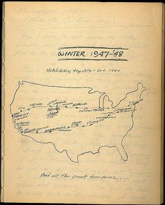 we have a map drawn by the author himself. Pulled from Kerouac's diary, it traces the route of a hitchhiking trip of July through October 19...