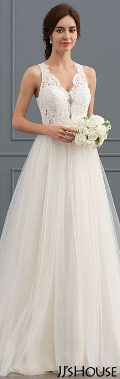 Princess V-neck Sweep Train Tulle Lace Wedding Dress#JJsHouse #Wedding dresses
