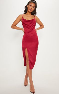 Get date night ready with bae in this must-have midi dress. Featuring a burgundy satin material, on-trend cowl neckline and a classy midi length. Style with barely-there heels and a bold lip for a classy Saturday night look we're obsessing over. Dresses Uk, Cute Dresses, Dress Outfits, Evening Dresses, Prom Dresses, Summer Dresses, Formal Dresses, Formal Midi Dress, Midi Dresses