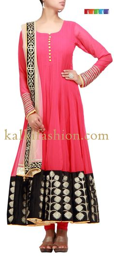 Buy it now  http://www.kalkifashion.com/pink-anarkali-suit-with-zari-work.html  Pink anarkali suit with zari work