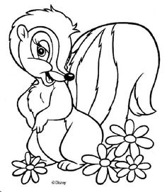 Free Printable Disney Coloring Books | If you like the Flower 6? There are many others in Bambi coloring ...