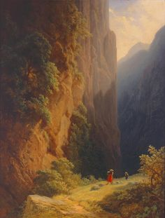 Carl Spitzweg (German, 1808–1885)  Women Mowing in the Mountains (Harvest in the Tyrolean Alps), 1858  Oil on canvas  22 1/4 x 17 in. (56.52 x 43.18 cm)  Gift of the René von Schleinitz Foundation M1962.54   Photo credit Larry Sanders