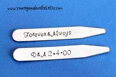 Forever and Always Anniversary Initials and by youregonnalovethis wedding anniversary collar stays gift for him Father's Day