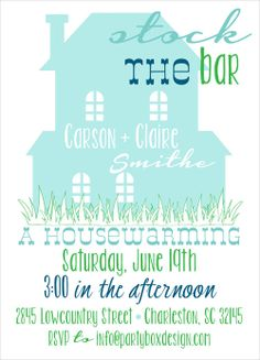 stock the bar invites, new home, housewarming party, housewarming invitations, hew house party, stock the bar, Party Box Design
