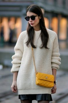 cozy oversized knit; leather pleated skirt
