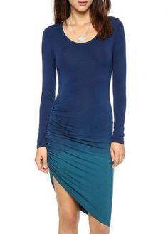 Elegant High Hem Design Long Sleeve Woman Dress