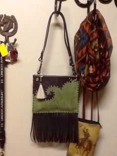 Mossy Green Leather Western Purse with Fringe by RodeoMomKat, $80.00