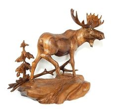 WILDLIFE BULL MOOSE BLACK WALNUT WOOD CARVING SCULPTURE