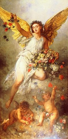 Angel with flowers and cherub I Believe In Angels, Angel Pictures, Angels Among Us, Angels In Heaven, Heavenly Angels, Ludwig, Guardian Angels, Angel Art, Renaissance Art