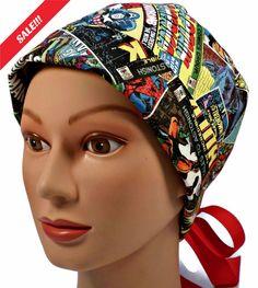 94e1de2c0d1 Women's Adjustable Fold-Up Pixie Surgical Scrub Hat Cap Handmade with  Superheros Retro fabric