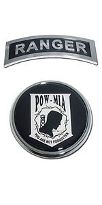 POW-MIA Ranger Emblem Set Military Real metal Chrome auto decal Self Stick Combo