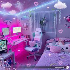 Cute Room Ideas, Cute Room Decor, Room Design Bedroom, Room Ideas Bedroom, Kawaii Bedroom, Gaming Room Setup, Pc Setup, Game Room Design, Indie Room
