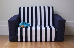 Kids Flip Out Sofa Cover: Navy Blue U0026 White Stripe