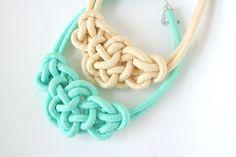 Pastel Color Bowtie Knot Collar Necklace Statement Necklace . mint . cream