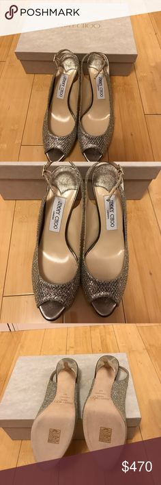 Jimmy Choo Nova Heels- Brans new - never worn Glitter Champagne Jimmy Choo Shoes Heels
