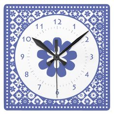 Blue and White American Country Kitchen Classic Square Wall Clock