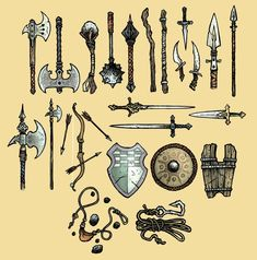 David Petersen's Blog: RPG 2nd Edition Card Art--mouse guard weapons: ax, mace, staff, knife, spear, halberd, bow & arrows, sword, shield, sling, hook and line