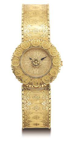 Buccellati 18k Yellow Gold Eliochron Bukhara Engraved Bracelet QTZ Watch.