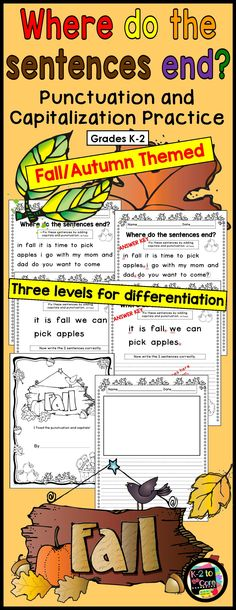 Provide your kindergarten, first, or second grade students with capitalization and punctuation practice with these differentiated (three levels) editing and writing practice sheets. Each page has two or three fall-themed sentences with missing capitals and punctuation. Your students' job is to figure out where the sentences end, edit the sentences, and then rewrite them with correct capitalization and punctuation, as well as neat handwriting.