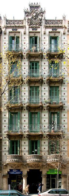 Barcelona - Girona 113 a Barcelona Architecture, Spanish Architecture, Beautiful Architecture, Exterior Stairs, Exterior Siding, Dark City, Barcelona Catalonia, Art Nouveau, Art Deco