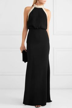 Black crepe Concealed hook and zip fastening at back polyester, acetate Dry clean Elegant Bun, Gown Suit, Elegant Dresses, Long Dresses, Rachel Zoe, Top Designer Brands, Dress Outfits, Casual Outfits, Dress To Impress