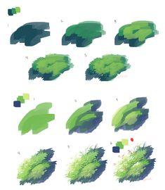 Grass process by Urswurs on DeviantArt Digital Painting Tutorials, Digital Art Tutorial, Painting Tips, Art Tutorials, Matte Painting, Digital Paintings, Sketch Painting, Drawing Tutorials, Landscape Drawings