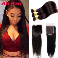 Braziliaanse Virgin Haar Straight met Sluiting 7a Braziliaanse Steil Haar met Sluiting Menselijk Haar Weave 3 Bundels met Sluiting