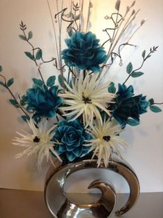 I like the artificial silk flower arrangement but not the vase. Artificial Floral Arrangements, Church Flower Arrangements, Christmas Arrangements, Artificial Silk Flowers, Teal Flowers, Home Flowers, Simple Flowers, Beautiful Flowers, Vase Deco