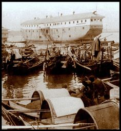 "OT NOAH'S ARK -- An OPIUM Storage Ship off the Coast of SHANGHAI in OLD CHINA -- A Curse Forced on China by the ""Civilized"" Nations of the World"