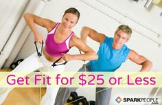 25 Ways to Get Fit for Less Than $25: Don't let a lack of funds get in the way of your desire to work out. Here are tons of cheap (and free) fitness ideas! | via @SparkPeople #exercise #budget