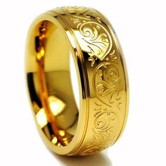 7MM GOLD PLATED Stainless Steel Ring With Engraved Florentine Design Sizes 5 to 8