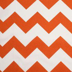 Spanish Orange/White Geometric Poly-Cotton Woven