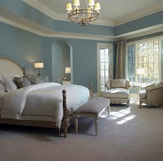 Master Bedroom: Soft blue walls,white woodwork,French style,traditional,white bedding,neutral furniture,chairs near window - Royalty Free Images, Photos and Stock Photography :: Inmagine