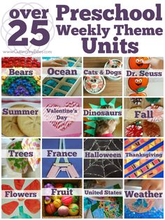 Over 25 Preschool Theme Units that include crafts picture books fine motor gross motor math literacy music science field trips and Preschool Weekly Themes, Preschool Lesson Plans, Preschool At Home, Preschool Curriculum, Preschool Kindergarten, Preschool Learning, Toddler Preschool, Preschool Activities, Math Literacy
