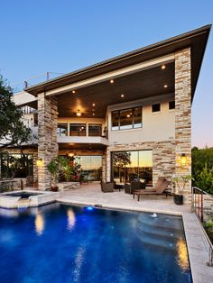 Amazing Elegant House Plans Supported by Elegant Redwood Design : Striking Modern Patio Design With Swimming Pool Lake View House