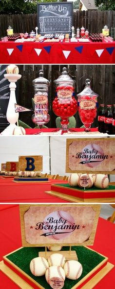 Table set up idea including old fashion coke bottles, candy jars, centerpieces