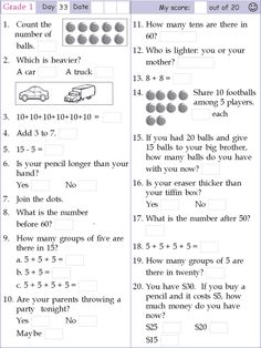 math worksheets for grade , Free printable Math Worksheets for Grade 1 for your source to teach your first grade elementary student or your kids in home. Mental Maths Worksheets, First Grade Math Worksheets, Free Printable Math Worksheets, Math Workbook, 1st Grade Math, Number Worksheets, Alphabet Worksheets, Homeschool Worksheets, Kids Worksheets