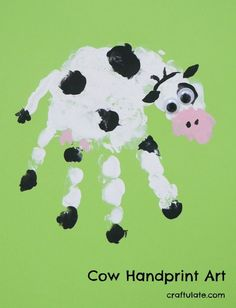 Handprint Art How cute is this cow handprint? It's a fun art project for kids to try - plus some clean-up tips!How cute is this cow handprint? It's a fun art project for kids to try - plus some clean-up tips! Farm Animal Crafts, Animal Art Projects, Toddler Art Projects, Farm Crafts, Animal Crafts For Kids, Cool Art Projects, Daycare Crafts, Farm Animals, Toddler Crafts