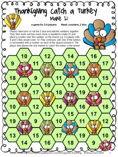 Thanksgiving Math Games Third Grade by Games 4 Learning for bringing some fun, Thanksgiving math into the classroom. Math board Games and No No Prep math sheets. $