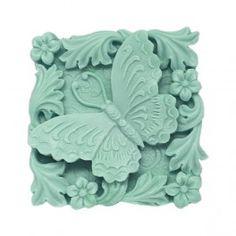 Molde de silicona pastilla de jabón, Primavera. Preciosa pastilla de jabón con flores, hojas y mariposa, perfecta para hacer detalles. Apta para hacer jabón con glicerina DIY.