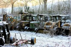 Tractor Graveyard Makes for a Haunting Snow Scene