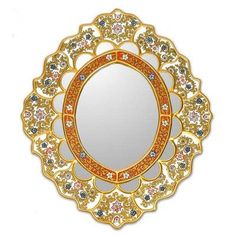 Novica Fair Trade Reverse Painted Glass Oval Wall Mirror