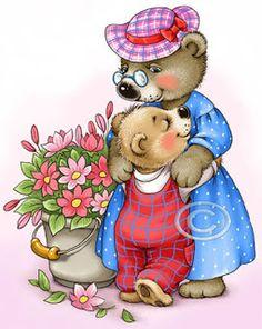 Mama bear and baby bear pieces) Tatty Teddy, Bear Cartoon, Cute Cartoon, Art D'ours, Art Mignon, Dream Catcher Art, Image Digital, Bear Illustration, My Beautiful Friend