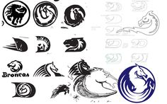Rejected Denver Broncos logos (and why the horse has no teeth), according to one of its designers - Denverite, the Denver site! Denver Broncos Logo, Broncos Fans, Bronco Horse, Mustang Logo, Art Criticism, Logo Sketches, Horse Logo, University Of Oregon, Alternate History