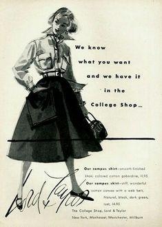 lord and taylor Ad Fashion, 1950s Fashion, Vintage Fashion, Pin Up Illustration, Fashion Illustration Vintage, Vintage Advertisements, Vintage Ads, Vintage Stores, Bonnie Cashin